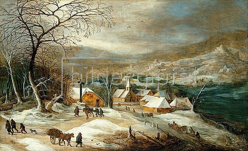 Joos de Momper d.J.: Eine Winterlandschaft mit Figuren auf einer Dorfstraße.