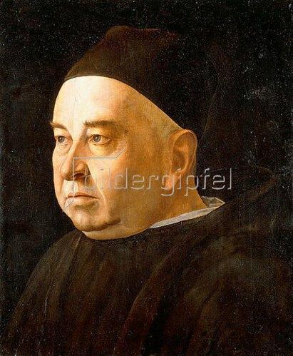 Venezianisch: Porträt eines Geistlichen in einem schwarzen Mantel und einer Kappe. Um 1490