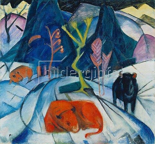 Franz Marc: Bison im Winter (Roter Bison). 1913.