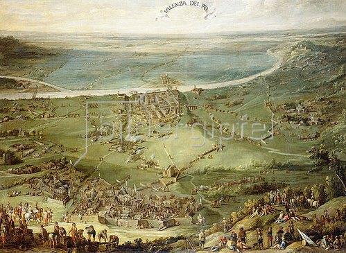 Pieter Snayers: Die spanischen und die kaiserlichen Truppen werden durch die Franzosen und Savoyen bei Valenza am Po besiegt.