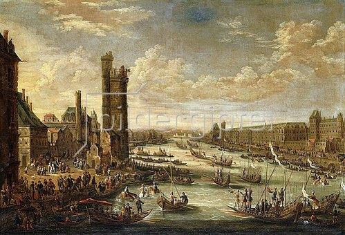 Peeter Bout: Eine Ansicht von Paris mit dem Louvre und dem Tour de Nesle. 1671-77