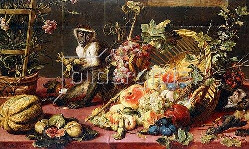 Frans Snyders: Ein umgekippter Korb mit Früchten und Affen auf einem Tisch.
