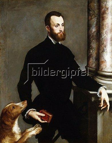 Bernardino Campi: Porträt eines Herren in einem schwarzen Anzug, ein Buch haltend.