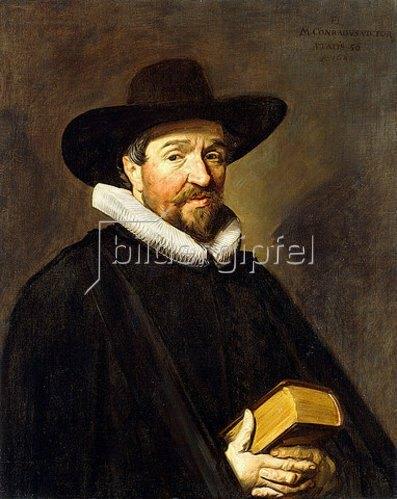 Frans Hals: Porträt von Conradus Vietor (1588-1657), 56-jährig, in einem schwarzen Mantel und Hut.
