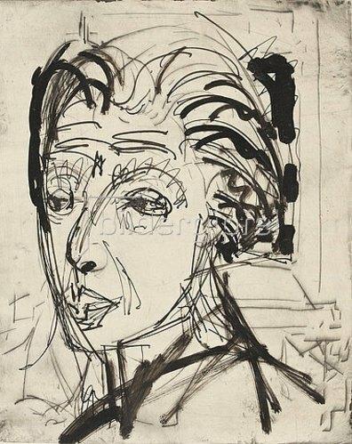 Ernst Ludwig Kirchner: Kirchnerkopf. Tuschezeichung von Ernst Ludwig Kirchner.