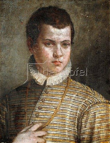 Paolo (Paolo Caliari) Veronese: Porträt eines jungen Mannes in einer gestreiften Jacke mit weißem Kragen.