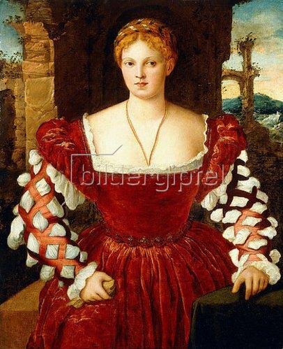 Bonifazio de Pitati: Porträt einer Dame in einem roten Samtkleid.