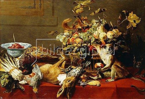 Frans Snyders: Ein Korb mit Früchten auf einem Tisch mit Wild und einem Affen.