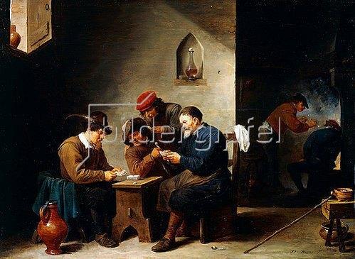 David Teniers: Kartenspielende Bauern in einer Stube. Um 1644-45