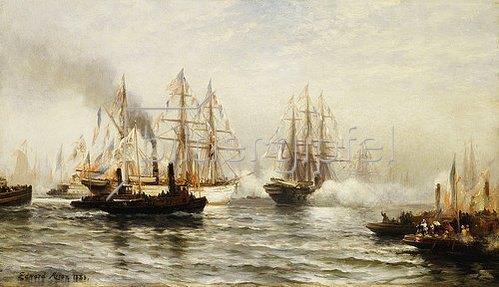 Edward Percy Moran: Der Empfang der französischen Fregatte Isère in der Bucht vor New York am 20. Juni 1885.