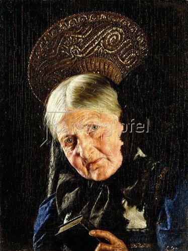 Carl Kronberger: Alte Frau mit einem Buch.