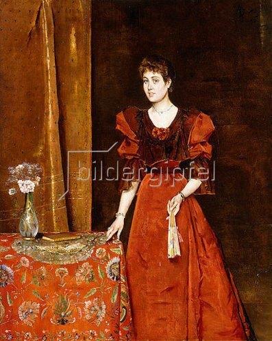 Alfred Stevens: Elegante Dame mit einem Fächer. 1893