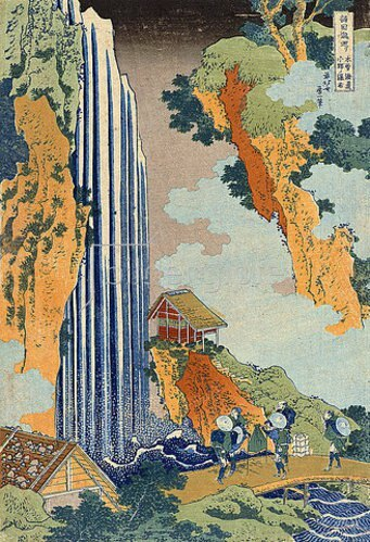 Katsushika Hokusai: Ono Wasserfall, aus der Serie 'Eine Reise zu den Wasserfällen Japans'.