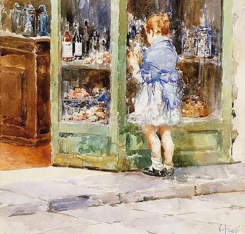 Vincenzo Irolli: Ein Mädchen an einem Schaufenster.