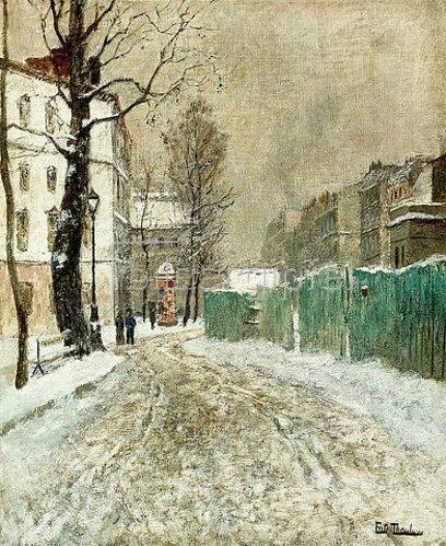 Frits Thaulow: Hintergasse am Montmartre.