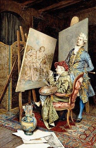 Giuseppe Signorini: Im Atelier des Malers.