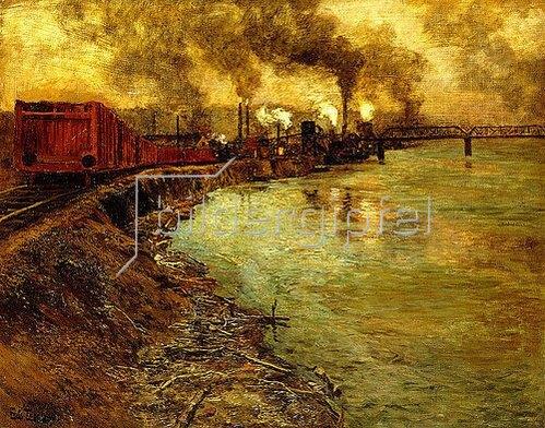 Frits Thaulow: Güterzug in der Abenddämmerung.