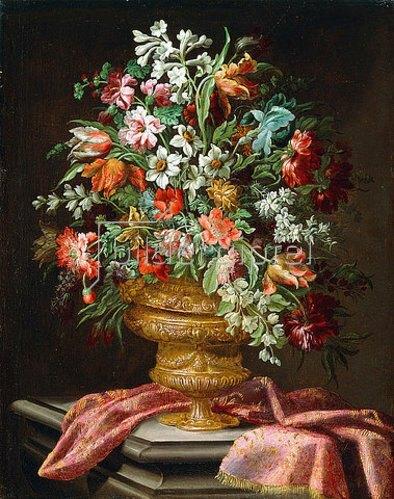 Andrea Scacciati: Blumen in einer Schmuckvase auf einem Steinpodest.