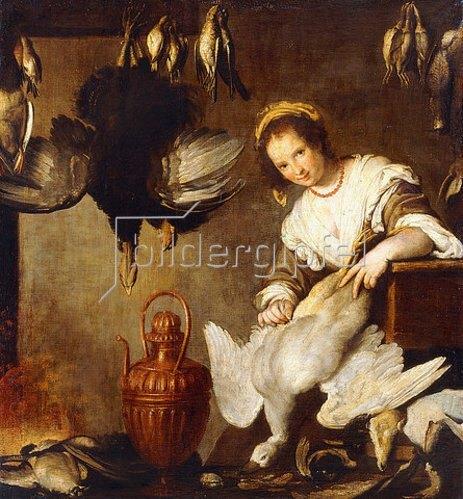 Bernardo (Il Capuccino) Strozzi: Eine Küchenmagd beim Rupfen einer Gans (La Cuoca).