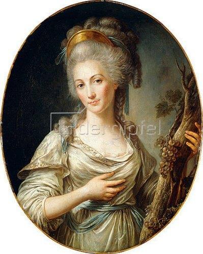 Antoine Vestier: Porträt einer Dame, wohl Fürstin von Lamballe, in einem weißen Kleid mit blauer Schärpe.