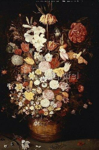 Jan Brueghel d.J.: Eine Kaiserkrone, eine Pfingstrose und andere Blumen in einem Bottich aus Holz mit Schmetterlingen und Käfern.