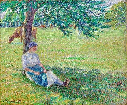 Camille Pissarro: Kuhhirtin, Eragny (Gardeuse de Vaches, Eragny). 1887