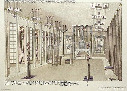 Emil Hochdanz: Entwurf für ein Musikzimmer, die Verkleidung von Margaret McDonald Mackintosh. Illustration aus 'Meister der Innenkunst', herausgegeben von Alex Koch (1902). Entwurf von 1901 (Die Entwürfe wurden 1901 bei einem Wettbewerb für die Einrichtung eines