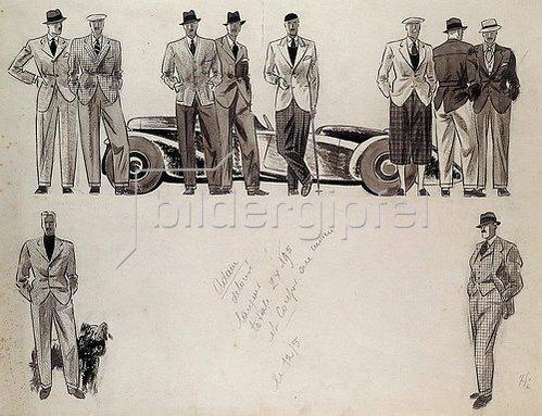 Ernst Deutsch-Dryden: Modezeichnung für 'Adam', zehn männliche Modelle vor einem Auto.