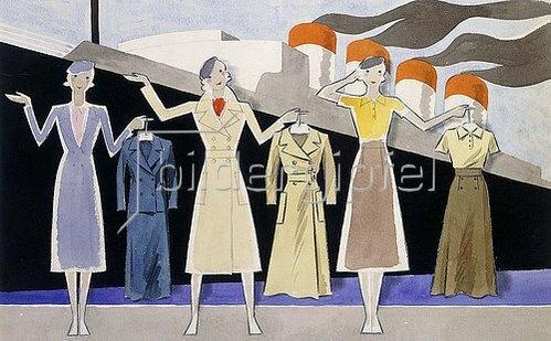 Ernst Deutsch-Dryden: Modeentwurf. Drei weibliche Modelle halten Kleidungsstücke auf Kleiderbügeln, ein Ozeandampfer im Hintergrund.