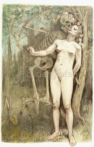 Armand Rassenfosse: Weiblicher Akt mit dem Tod als Skelett. Aus 'Les Fleurs du Mal', von Charles Baudelaire. 1897 (hrsg. Paris, 1899)