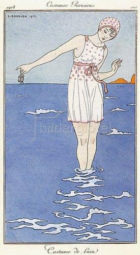 Georges Barbier: Pariser Mode: Badeanzug. Aus 'Journal des Modes et des Dames'. 1913