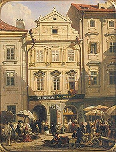 Rudolf von Alt: Obstmarkt in Prag. 1859.