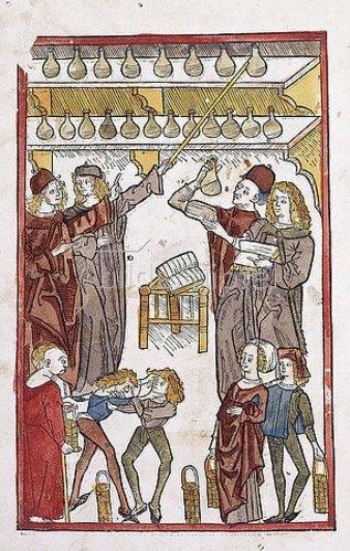 Deutsch: Apotheker, im Vordergrund zwei streitende Jungen. Aus 'Hortus Sanitatis'. Gedruckt von Jacob Meydenbach, Mainz 1491