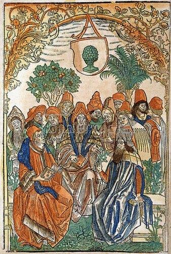 Deutsch: Dreizehn Gelehrte in einem Garten. Aus 'Gart der Gesundheit'. Gedruckt von Johann Schönsperger, Augsburg 1485