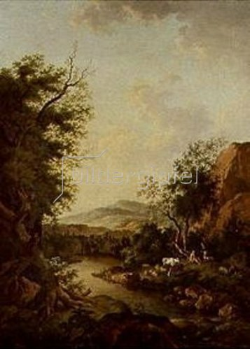 Ferdinand Kobell: Hirten mit Herde am Flußufer.