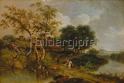 Ferdinand Kobell: Reiter auf einem Berg zwischen zwei Seen