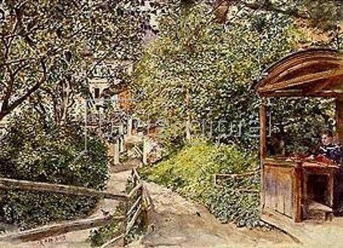 Rudolf von Alt: Luise Alt in der Laube des Gartens in Gastein. 1899.