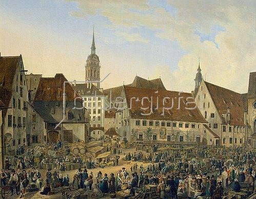 Domenico Quaglio: Viktualienmarkt am Heiliggeistspital in München. 1824.