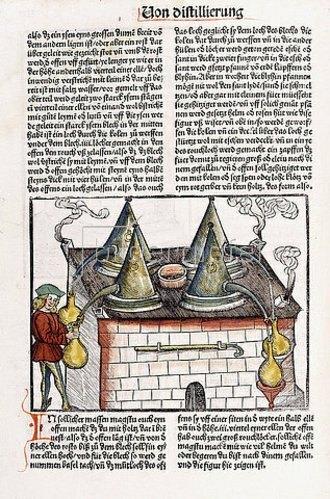 Hieronymus Brunschwig: Aus 'Kleines Destillierbuch' (Liber de arte distillandi de simplicibus). Straßburg 1500