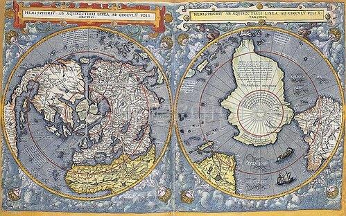 Gerard de Jode: Nord- und Südpol. Aus 'Speculum orbis terrae'. Antwerpen 1593