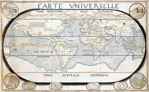 Salomon de Caus: Carte Universelle (Weltkarte). Aus 'Atlas sive cosmographicae...', von Gerard Mercator (1512-1594) und Jodocus Hondius (1563-1611). 1624
