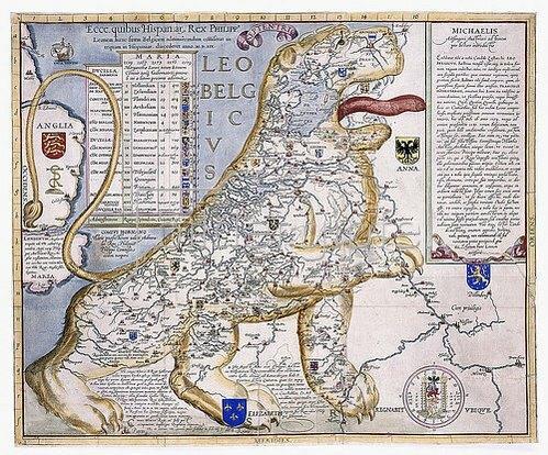 Michael Aitzinger: Leo Belgicus, Darstellung der Niederlande in Form eines Löwens. Aus 'De Leone Belgico'. Köln, 1586