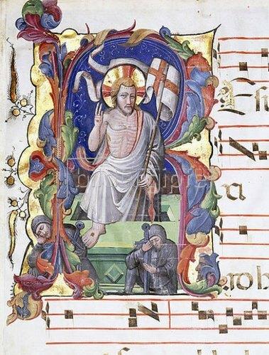 Italien: Initiale mit Auferstehung. Aus einem Chorbuch. Um 1400-50