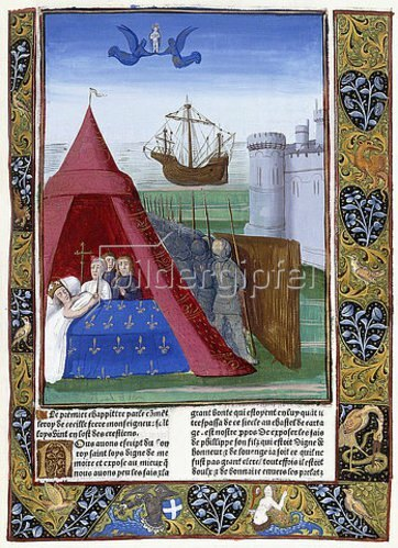 Antoine Vérard: Der Tod des heiligen Ludwig von Karthago. Aus 'Les Grandes Chroniques de France dites de saint-Denis'. Paris 1493