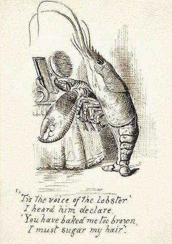 John Tenniel: Der Hummer mit einer Brüste vor einem Frisiertisch. Illustration aus 'Alice im Wunderland' von Lewis Carroll (1832-1898). Um 1865