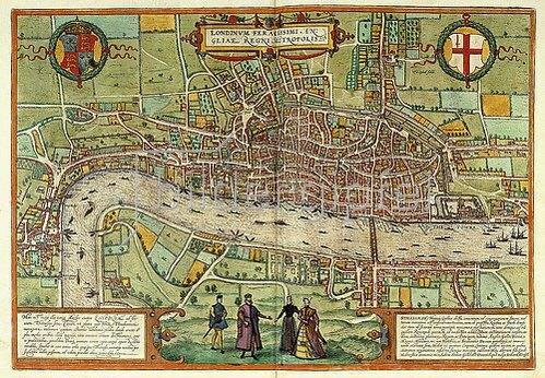 Ansicht von London. Tafel aus 'Beschreibung und Contrafactur der Vornembster Stät der Welt' von Georg Braun (1541-1622) und Frans Hogenberg (1535-1590). 1613