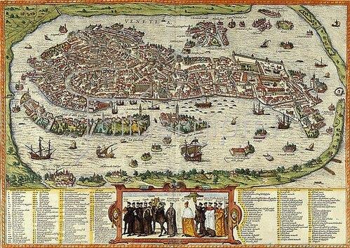 Ansicht von Venedig. Tafel aus 'Beschreibung und Contrafactur der Vornembster Stät der Welt' von Georg Braun (1541-1622) und Frans Hogenberg (1535-1590). 1613