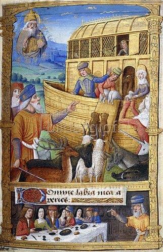 Französisch: Arche Noah. Aus einem Stundenbuch, Paris, Rouen oder Tours, um 1500