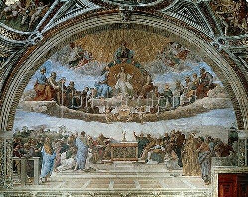 Raffael (Raffaello Sanzio): Disput über das Sakrament (Disputa del Sacramento). 1509-11