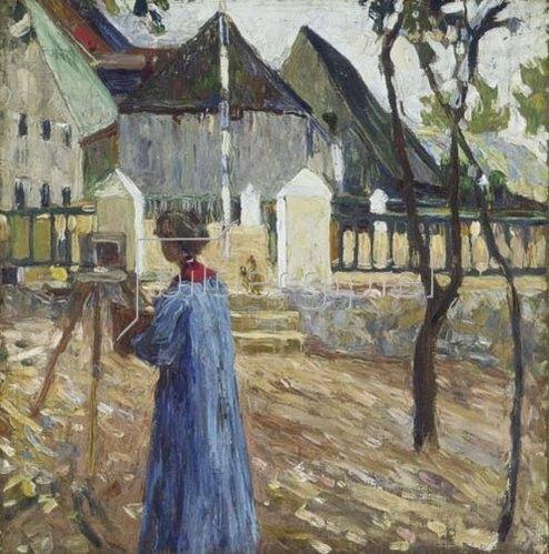 Wassily Kandinsky: Gabriele Münter beim Malen in Kallmünz. 1903.